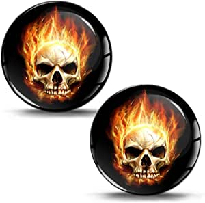Skinoeu 2 X Aufkleber 3d Gel Silikon Stickers Skull Totenkopf Mit Flammen Feuer Schädel Auto Moto Motorrad Fahrrad Skate Fenster Tür Pc Tablet Laptop Tuning Ks 3 Auto