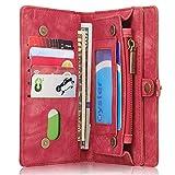 INFLATION iPhone/Samsung Leder Handytasche Case Hülle Geldbörse mit Kartenfach abnehmbar Magnet Handy Schutzhülle für Samsung Galaxy S8 in Rot