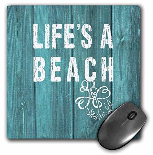 Lifes a Beach Distressed Weiß Text auf Blaugrün Hintergrund nicht Echtholz–Maus Pad, 8von 20,3cm (MP _ 220419_ 1) - Distressed Weiß Computer