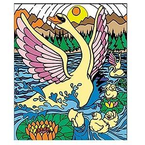 """Colorvelvet 37x 28cm """"Swan"""" sistema de dibujo para colorear (tamaño mediano, multicolor) , Modelos/colores Surtidos, 1 Unidad"""