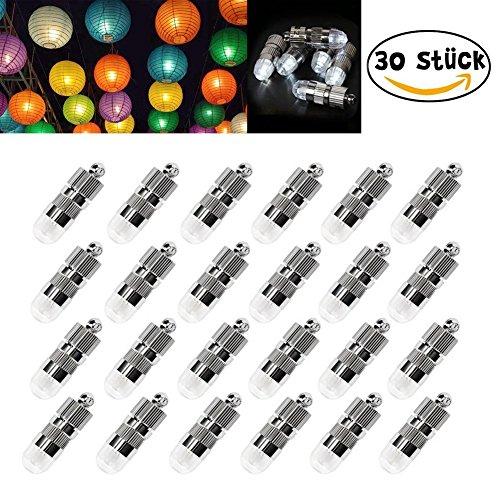 30velas de globos mini LED, resistentes al agua, Iluminación para linternas de farolillos de papel, para bodas y fiestas