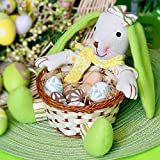 Valery Madelyn 19cm Traditional Yellow and Green Fabric Rabbit Easter Decoration Easter Bunny Basket for Eggs Home Table Top Children Gifts