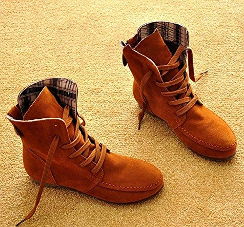 Minetom Hiver Mode Lace Up Bottes Femmes Plat Chaussures Bottines Chaussures Boucle Plate-forme Confortable Martin Bottes Chameau Coton