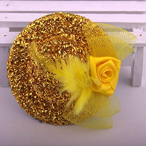 Outstanding Sequin Mini Feather Top Hut Bogen Haarclip Kostüm Zubehör für Party