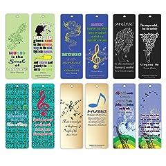 Idea Regalo - Creanoso musica citazioni segnalibri Series 2–Inspiring Quotes Sayings Bookmarker Cards for Men Women Teens gli amanti della musica, (12-Pack)