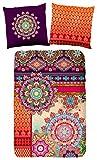 Hip 5366-H 135cm bettwäsche mit drei farbige Muster, 100% Baumwolle / Satin, mehrfarbig, 200 x 135 x 0,5 cm