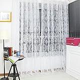 Rrimin 1 PCS Fashion Floral Tulle Voile Door Window Curtain Drape Panel Sheer Scarf Valances 1*2 M (White)