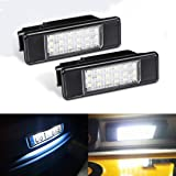 Moleqi 2 x Auto achterlicht 18 LED SMD kentekenplaat licht 6000K voor P-eugeot 106 207 307 308 406 407 508 voor C-ITROEN C3 C