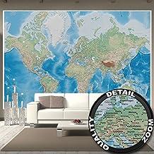 Foto mural mapa mundial – imagen mural decoración proyecctión Miller mapa globo mundial la tierra geográfica con sus desños relifes I foto-mural foto póster deco pared by GREAT ART (336 x 238 cm)