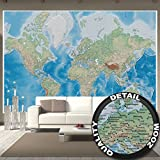 great-art Fototapete Weltkarte Wandbild Dekoration miller projection im plastischen Reliefdesign Erde Atlas Weltkugel Landkarte Geographie Foto-Tapete Wandtapete Fotoposter Wanddeko by (336 x 238 cm)