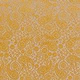 Fabulous Fabrics Futterstoff Jacquard Paisley – gelb — Meterware ab 0,5m — zum Nähen von Innenfuttern, Abend- und Partymode und Businesskleidung