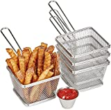 Andrew James Four Portion Chip Serving Set With Stainless Steel Baskets and Sauce Dip Bowls