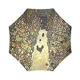 Romantische Valentinstag Geschenke Presents Gustav Klimt wegplatten mit Hühner 100% Stoff und Aluminium faltbar Hochwertige Regenschirm