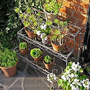 Asian arts Wrought iron 3 TIER STRAIGHT PLANT STAND