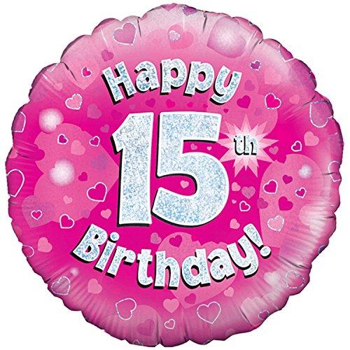 Oaktree Luftballon mit Aufschrift Happy 15th Birthday, pink, rund, 46 cm (Einheitsgröße) (Pink/Silber) -