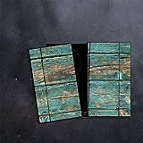 DAMU |Ceranfeldabdeckung 2 Teilig 2x30x52 cm Herdabdeckplatten Abstrakt Elektroherd Induktion Herdschutz Spritzschutz Glasplatte Schneidebrett Blau Holz