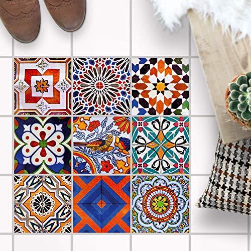 Fliesenspiegel für - [ Boden Fliesen ] - Folie Sticker Aufkleber für Fuß-Boden-Fliesen - Bad oder Küche I Fliesenaufkleber als Alternative zu Fliesenfarbe I 15x15 cm - Design Portugiesische Fliesen