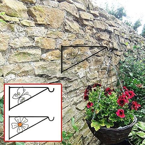 Gardman Nature dekorativ schwarz Schmetterling aus Metall zum aufhängen Wand Antik Halterung Korb Haken, Garten Wand Zaun Baum Unterstützung–pack von 2