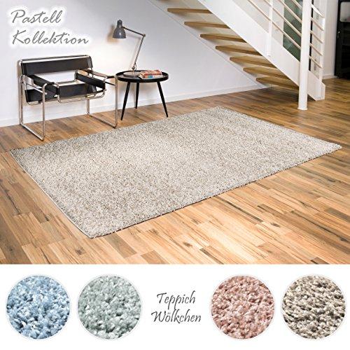 Shaggy-Teppich Pastell Kollektion | Flauschige Hochflor Teppiche fürs Wohnzimmer, Esszimmer, Schlafzimmer oder Kinderzimmer | Einfarbig, Schadstoffgeprüft (Vizon - 60 x 90 cm)