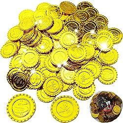 BESTZY 100 Piezas Monedas Pirata Oro plástico Juguete Falsas Monedas Oscuro