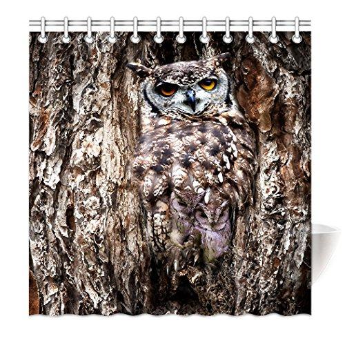 S&H Top Qualität Anti Schimmel Duschvorhang Badezimmer-vorhang Digital Print interessante Owl Dress Up natürliche schützende Get Color, Polyester, braun, 150 x 180 cm (Dress Owl Up)