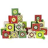 Papierdrachen DIY Adventskalender Kisten Set - Motiv Rot-Grün - 24 bunte Schachteln zum Aufstellen und zum Befüllen - 24 Boxen
