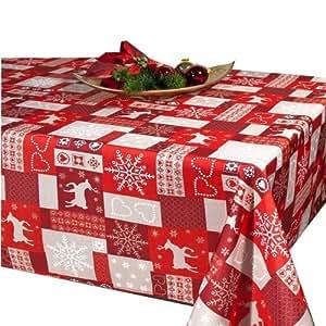 Lotus Effekt Tischdecke - Weihnachtstischdecke in 130x160 mit Fleckschutz - Flüssigkeiten perlen einfach ab - Serie in insgesamt 4 Größen - Tischläufer und Tischdecken - Herbst, Winter , Advent , Weihnachten - Farbe : ROT