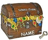 """"""" Schatztruhe """" - Spardose - incl. Namen - mit Schlüssel - stabile Sparbüchse aus Kunstharz - für die Reisekasse Pirat Geld Sparschwein / Schatzsuche Piraten - Schatzkiste"""