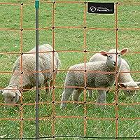 Malla eléctrica para ovejas farmNET, Rollo de 50m de Longitud y 90cm de Altura, 14 Postes, Naranja