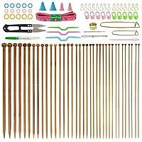 Knitting Needles BUZIFU 36 Pcs Bamboo Knitting Needles with 18 Sizes 2.0mm to 10.0mm and 56 Pcs Accessories Knitting Needles Set Mother