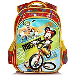 Disney School Bag For Boys & Girls 07+ Years Goofy Mickey Motor Cycle 25 (L) Red (Dm-0014)