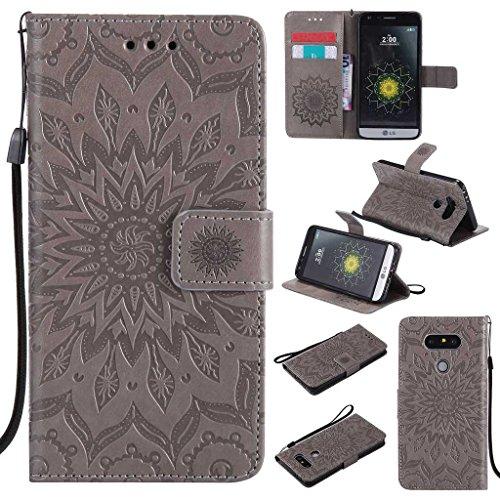 BoxTii LG G5 Hülle [mit Frei Panzerglas Displayschutzfolie], LG G5 Schutzhülle mit Kartenfächern, Premium Lederhülle für LG G5 (#2 Grau)