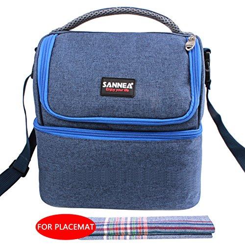 Borsa pranzo, xguo borsa termica lunch bag con tracolla grande capacità borsa termica pasto per la a scuola(7l,blu)