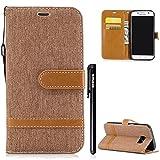 HandyHülle für Samsung Galaxy S7,[Nicht für Galaxy S7 Edge] BtDuck Kreativ Denim + PU Leder Ultra Slim Dünn Weich Tasche
