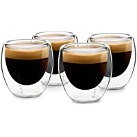 GLASWERK Tasses à espresso design (4 x 70 ml) - Verres à espresso à double paroi en verre borosilicaté, Ensemble de…