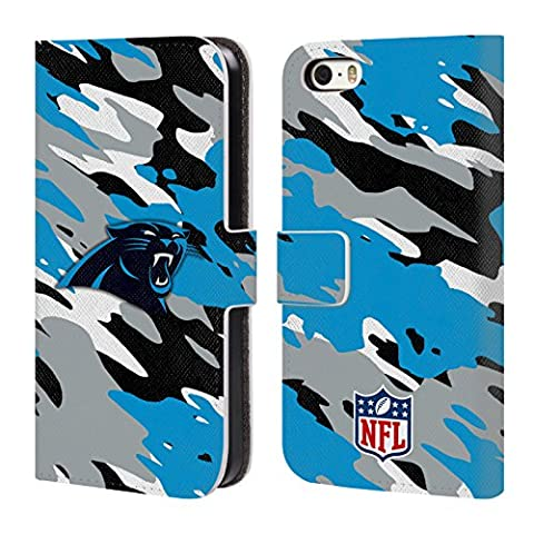 Official NFL Camou Carolina Panthers Logo Leather Book Wallet Case Cover For Apple iPhone 5 / 5s /