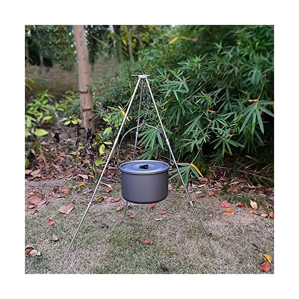 Zerich Camping Tripod Campfire Cooking Dutch Oven Tripod Portable Outdoor Picnic Foldable Cooking Tripod Barbecue Accessory Cooking Lantern Tripod Hanger with Storage Bag for Camping Activities#7824 7