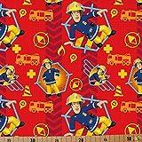 Jersey Stoffe Feuerwehrmann Sam rot 1,00m x VB