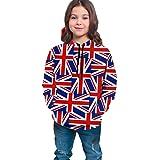 HNJZ-GS Patrón británico Compuesto de Banderas Nacionales del Reino Unido Sudadera con Capucha para niños Niñas Adolescentes