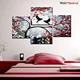 WallMantra Birds On Branch Wall Painting/4 Pieces Canvas Print Wall Hanging/Stretched And Framed On Wood/34 W X 24 H/Home Decor For Living Room, Bedroom, Office Decoration