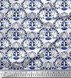 Soimoi Blau Seide Stoff Blumen, Fisch & Hirsch kunstlerisch
