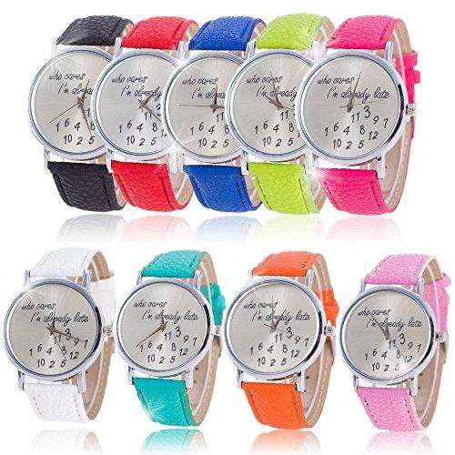 SSITG Modisch Leder Armbanduhr Analog Damenuhr Watch who cares I'm already late Wrist Watch Geschenk Gift