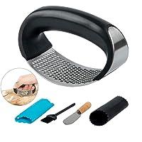 SENHAI  schiacciapaglio  schiacciapaglio  in acciaio inox  per uso alimentare  con sbuccia aglio e pennello in silicone