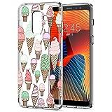 Eouine Coque Samsung Galaxy A8 2018, Etui en Silicone 3D Transparente avec Motif Fantaisie Peinture Dessin Antichoc Housse de Protection TPU Case Coque pour Telephone Samsung A82018, Crème glacée