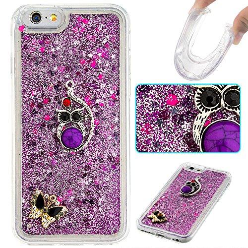 Case iPhone 6 / 6S 3D Bling Diamant Design Coque, Sunroyal Glitter Bling Bling Dual Layer en Soft TPU Silicone Housse Transparent Clair Back Cover Strass Cristal Protecteur Étui Paillettes Flottant Li A-17