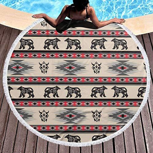 shuangshao liu Rundes Badetuch Round Beach Towel Blanket American Native Bear Buffalo Stripe Extra Large Big Outdoor Travel Swim Microfiber Blanket Thin Yoga Mat Personalized Kids Adults -