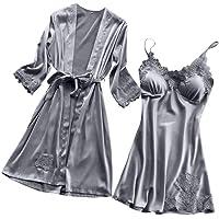 LANSKRLSP Biancheria Intima Donne Pizzo di Seta Abito Robe Bambolina Camicia da Notte Kimono,Sexy Pigiama in Pizzo Sexy…