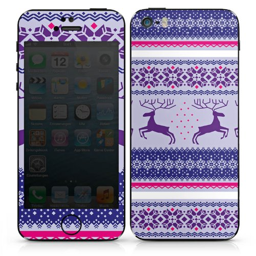Apple iPhone 5 Case Skin Sticker aus Vinyl-Folie Aufkleber Rentier Norwegermuster Weihnachten DesignSkins® glänzend