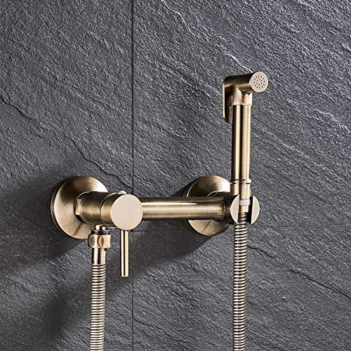 BOZNY Duschsystem Chrome/Antique Bronze Bidet Duscharmaturen Messing Hygienic Shower Spray Airbrush Hahn Hot & Cold Mixer WC Spray Bidet Dusche