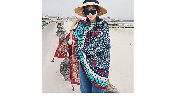 93d24a3a4dc2 Foulards Style Folk Féminin Au Printemps Et L Été Maison De Vacances  Foulard Foulard Pareo Impression À Double Usage De L Écran Solaire Châle  Bleu 2) Cadeau ...